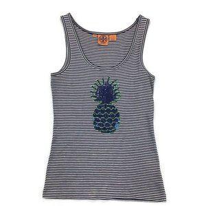 Tory Burch Blue & White Stripe Pineapple Tank